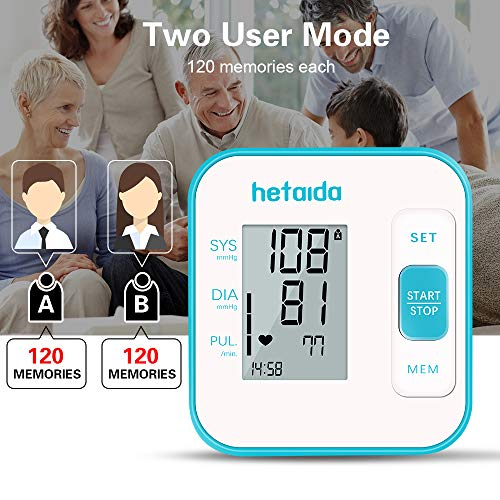 Blood Pressure Monitors for Home Use Upper Arm,Heart Pulse Rate Monitoring Meter with Cuff 22-40cm, 2×120 Sets Memory
