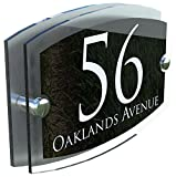 K Smart Sign MODERN HOUSE SIGN PLAQUE DOOR NUMBER STREET GLASS EFFECT ACRYLIC ALUMINIUM NAME
