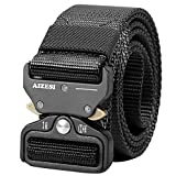 AIZESI Men Tactical Belt 1.5' Heavy Duty Belt, Quick-Release Military Style Shooters Nylon Belts with Metal Buckle