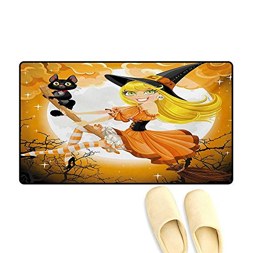 Bath Mat,Cute Sexy Witch on a Broom with Baby Kitten and Hazy Moonlight Halloween Themed,Door Mats for Inside,Multicolor,24