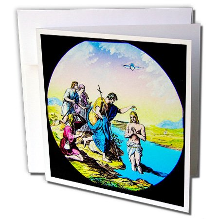 Scenes from the Past Magic Lantern - Vintage Bible Story Jesus Baptizing a Man in Jordan River New Testament - 6 Greeting Cards with envelopes (Testament Envelopes)