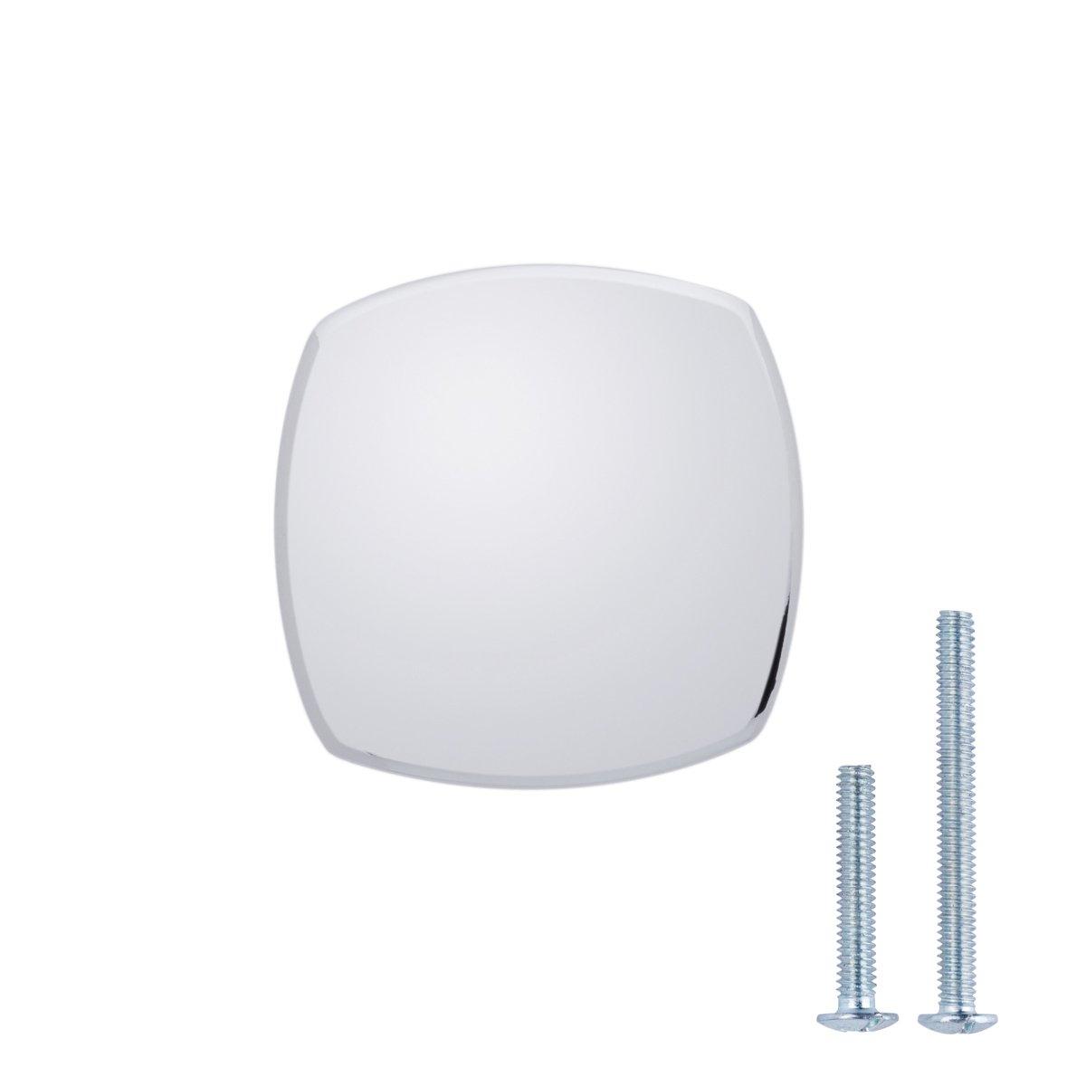 "AmazonBasics Rounded Square Cabinet Knob, 1.26"" Diameter, Polished Chrome, 10-Pack"