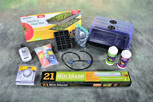 Level 5 Plant Propagation Cloning Kit: Humidity Dome, Tray, Inserts, heat mat, light, grow plugs and more! 15'' x 9'' x 8'' by Grow Box USA