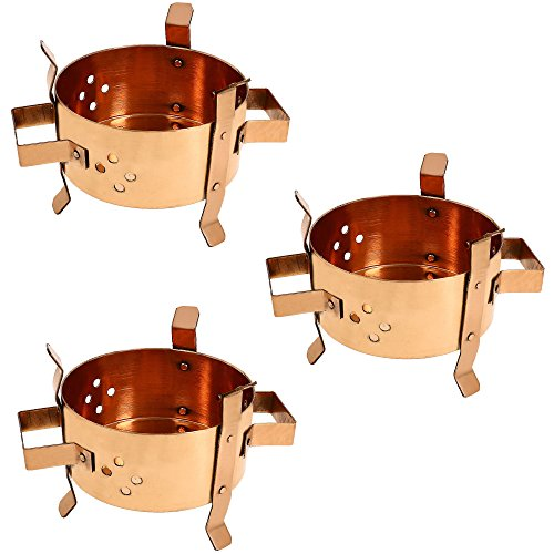 Traditional Indian Copper Food Warmer Tabletop Burner Angeethi Set Of Three