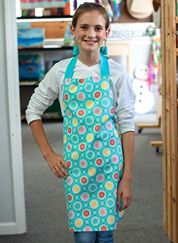 Colorful Medallion Handmade Tween Girl Apron Gift for Kitchen Crafts or Art from Sara Sews, Inc.