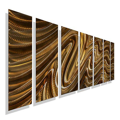 - Extra Large Modern Amber, Yellow & Golden Handpainted Metal Wall Art Painting - Contemporary Abstract Home Office Decor Sculpture Accent - Mystic Desert XL by Jon Allen