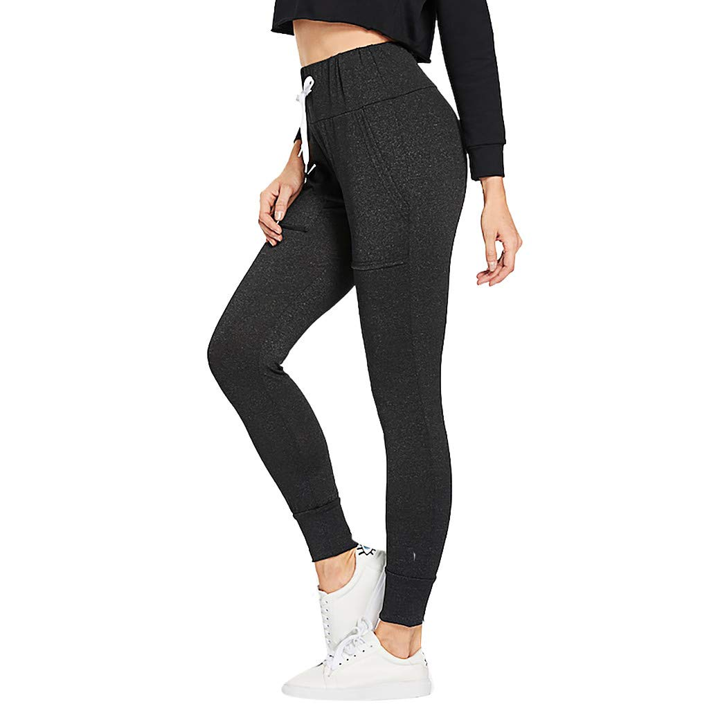 Elsta Yoga Hosen Damen Freizeithose Jogginghose Hose Lange Hosen Sportswear Sweatshose Casual Sweatpants Elastischer Bund Hose Jogginghose mit Kordelzug