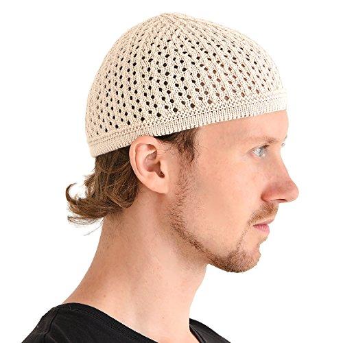 (Stretchy Muslim Beanie Kufi Hat for Men - Cotton Crochet Islam Lightweight Prayer Cap Summer Dad Hats Beige)