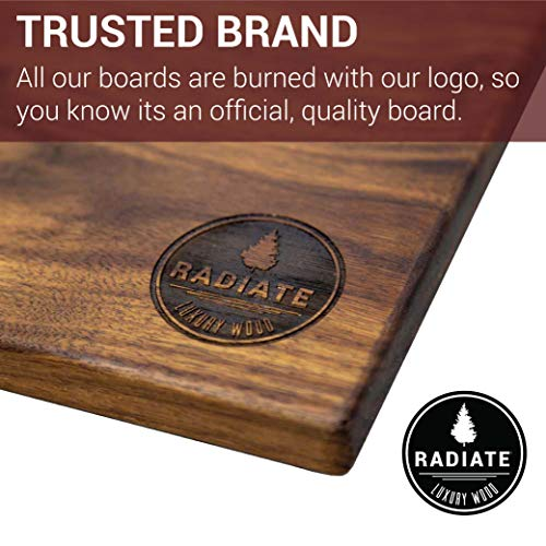 Radiate Luxury Wood- Rustic Black Walnut Wood Cutting Board - USA MADE- Hardwood Chopping, Cutting and Carving Countertop Block (11x17x.75 Inch Large)
