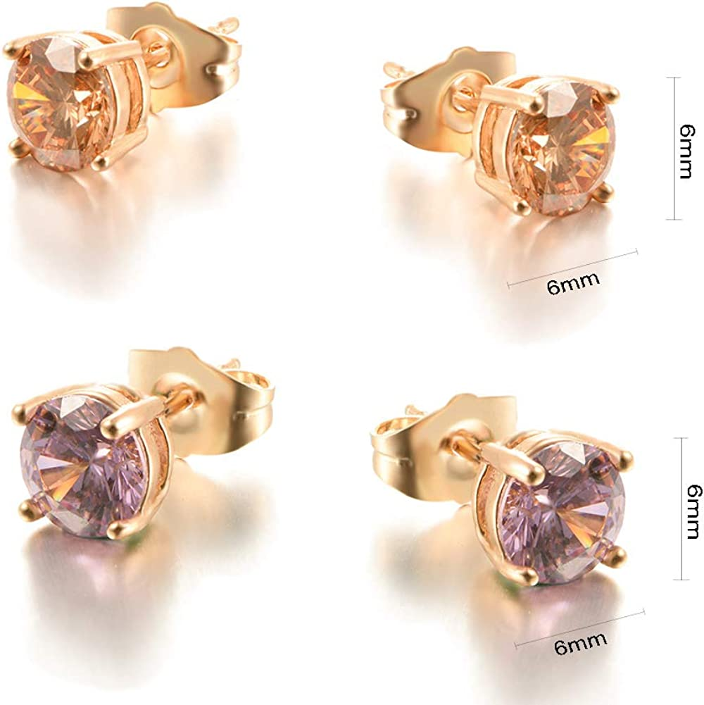 Yumay 14kt Yellow Gold Stud Earrings Made with Sparkling Diamond Purple Birthstone for Women