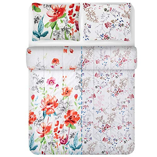 LANGRIA Comforter Set with Floral Print Reversible Design, Ultra Soft and Lightweight Down Alternative Fill All-Season Machine Washable Bedding with 2 Pillow Cases (Queen Size)