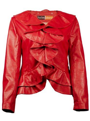 FE Ruffled Designer Leather Jacket Women in Red