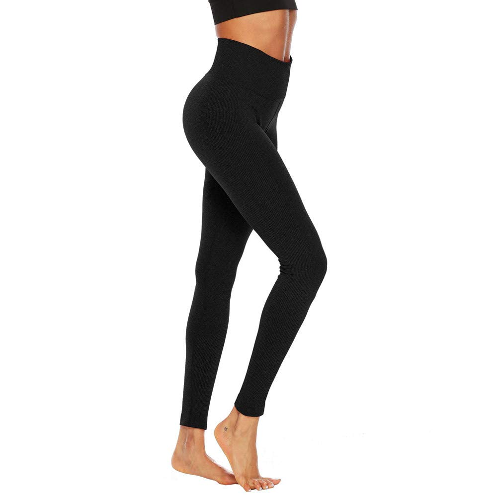 Women's Fitness Sport Capris Solid Line High Waist Workout Ruche Booty Thights Yoga Athletic Leggings (XL, Black)