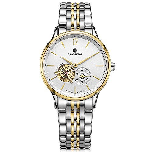 STARKING Men's AM0213GS81 Automatic Skeleton Subdial Gold Silver Two-Tone Stainless Steel Bracelet Watch