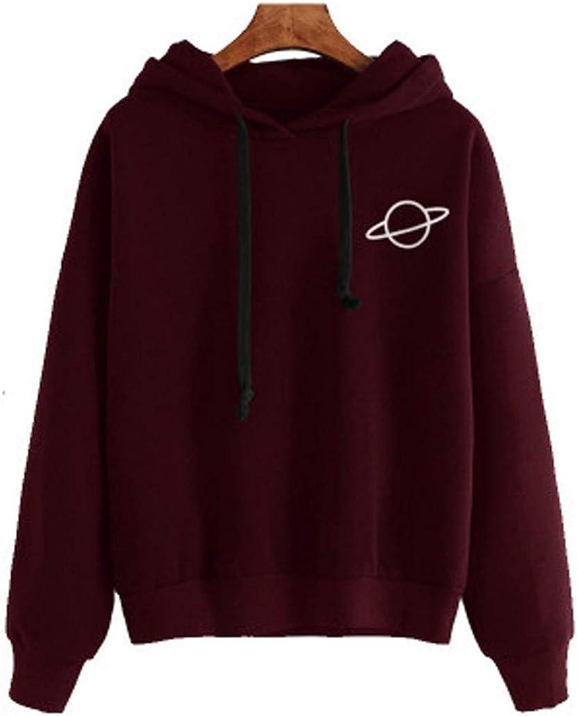 JMETRIE Long Sleeve Velvet Warm Hoodie Pullover Womens Loose Printed Hooded Sweatshirt
