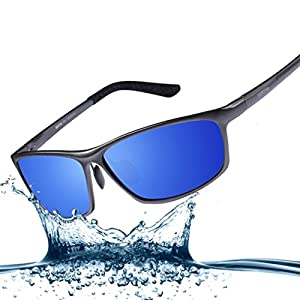 Bertha 2016 New Fashion Driving Polarized Sunglasses for Men Unbreakable-aluminum Frame 3230 Blue Lenses