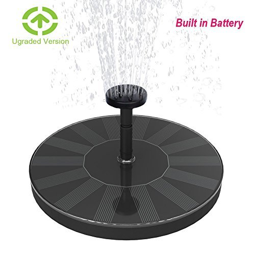 Skywee Upgraded Solar Fountains with Battery Backup, 1.5W Auto Shut-off Solar Powered Submersible Birdbath Fountain Pump, Outdoor Water Pump Solar Pannel Kit for Pond, Fish Tank, Pool, Aquarium