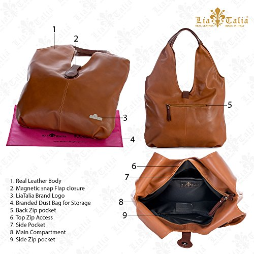 Shopper Large Boho Bag Genuine Deep Shoulder Trim Italian Zoe Red Brown Soft Leather Liatalia Tote Hobo xqI8vXvw