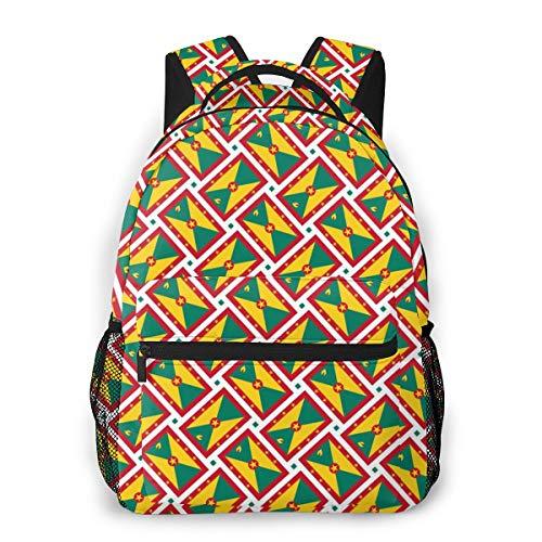 School Backpack Grenada Flag Weave Classic Lightweight Backpack for Men Women College Schoolbag Travel Bookbag