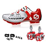 MTB Cycling Shoe Mountain Bike Shoes & Pedals Cleats Men Women (White Red + Red,US11/EU44/Ft28cm)