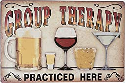 Uniquelover Group Therapy Practiced Here Retro Vintage Tin Sign 12\