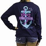 Southern Attitude Salty Rope Anchor Navy Blue Long Sleeve Shirt (Medium)