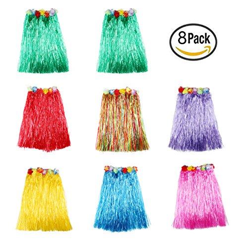 SANFENG 8PCS Kids' elastic Hawaiian hula dancer grass skirt - 16