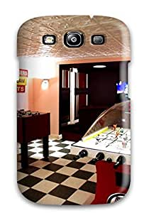 Cute Appearance Cover/PC OGHotJY8580zXAds Home Theater And Play Room With Checker Board Floor Tiles And Air Hockey Table For Case Iphone 4/4S Cover
