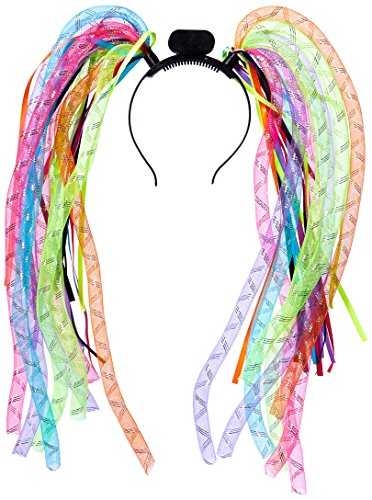 Neon Bright Electric Party Multi-colored Light-Up Noodle Headband Accessory, Fabric, Adult Free Size