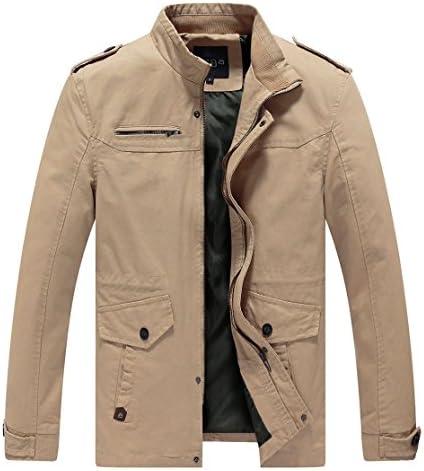 Lega Mens Cotton Classic Pea Coat Spring & Fall & Winter Ourdoor Jacket(Khaki/US Medium/Asia 3XL)