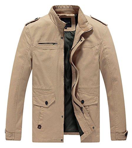 Lega Men's Casual Thick Jacket Cotton Stand Collar Windbreaker, Khaki, XL - Khaki Cotton Jacket