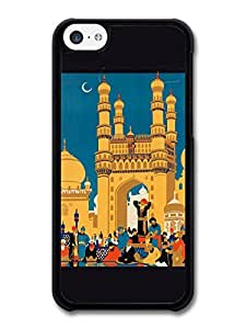 MMZ DIY PHONE CASEColourful Retro India Travel Poster with Black Border case for ipod touch 5