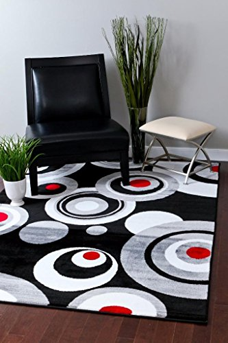 175 Gray Black White Red 52 x 72 Modern Abstract Area Rug Carpet
