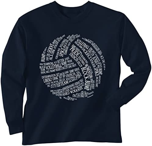 ChalkTalkSPORTS Volleyball Long Sleeve Adult T-Shirt | Volleyball Words | Multiple Colors | Adult Sizes