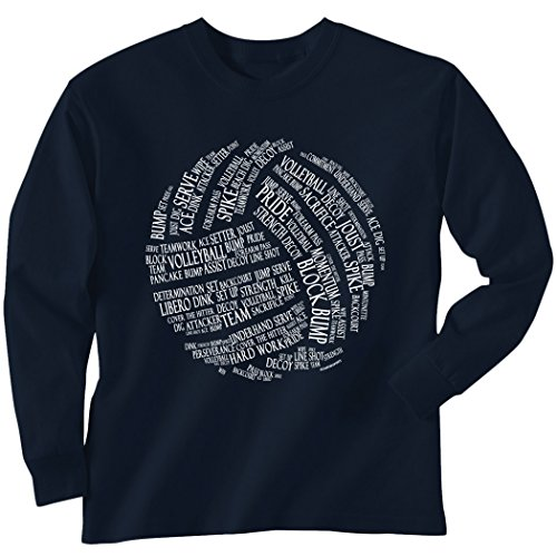 T-shirt Long Volleyball Sleeve (Volleyball Words Long Sleeve T-Shirt | Volleyball Tees by ChalkTalk SPORTS | Navy | Adult Medium)