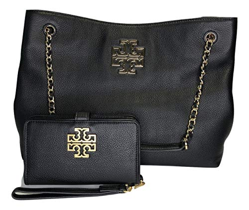 Tory Burch Britten Triple Compartment Tote bundled with Tory Burch Britten Smart Phone Wallet (Black)