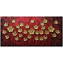V-inspire Paintings, 24x48 Inch Modern Abstract Painting the Golden Flower Oil Hand Painting 3D Hand-Painted On Canvas Abstract Artwork Art Wood Inside Framed Hanging Wall Decoration
