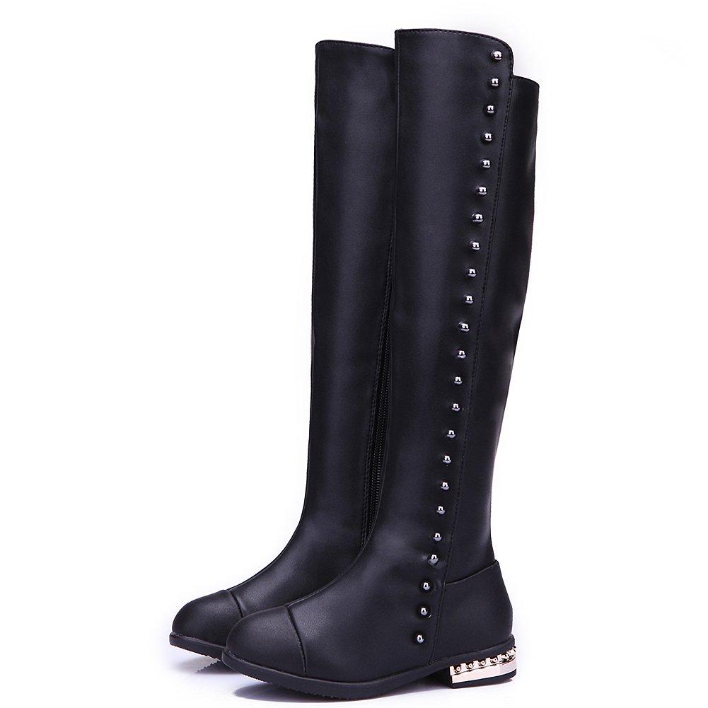 Shenn Mädchen Kinder Mode Kniehohe Winter Reißverschluss Leder Stiefel & Stiefeletten(Kleine Kinder,29EU)