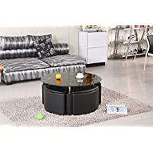 Milano Round Chrome Coffee Table with 4 Ottoman Storage Stools - Black Or White With Colour Coded Tinted Glass (White) by Right Deals UK