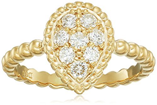 AGS Certified 1 3 Cttw Brilliant-Cut Diamond Cluster 14K White or Yellow Gold Teardrop Shaped Bead-Detail Ring H-I Color, I1 Clarity