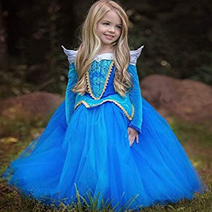 Dunnomart Sleeping Beauty Cosplay Costume Fantasy Kids Princess Aurora Dresses Girls Halloween Costume Kids Party Dress