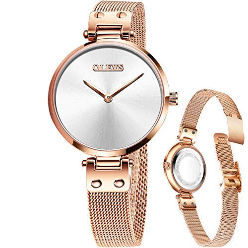 Silver and Rose Gold Watch for Women,Lady Waterproof Dress Wrist Watch,Small Dial Watches for Women,Fashion Steel Mesh Simple Wrist Watch,Classic Casual Minimalist Thin Watch,Quartz Analog Round Watch