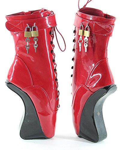 WONDERHEEL wedges Rot fetisch patent Kurzschaft padlocks ballett stiefel