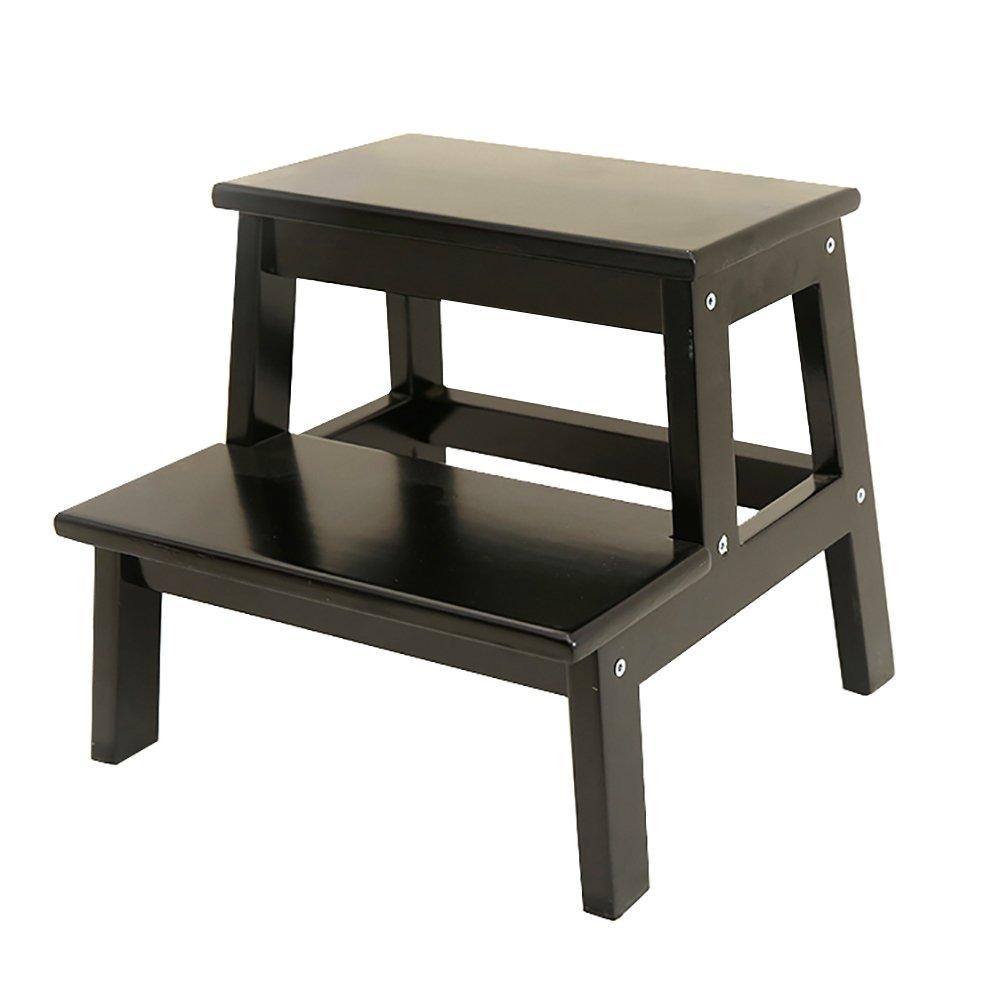 YXX- キッチン用木製のはしご小さな足のスツール木製の2つのステップのスツール大人&子供のための屋内ポータブルフラワーラック/靴のベンチ/ストレージシェルフ (色 : Black, サイズ さいず : 39.5*35*35cm) B07F65HQ5V  Black 39.5*35*35cm