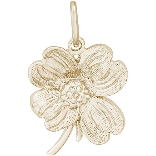 Rembrandt Charms 14K Yellow Gold Dogwood Flower Charm (17.5 x 16.5 mm) - Dogwood Charm