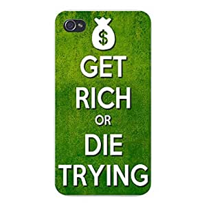 """Apple Iphone Custom Case 5 5s Snap on - """"Get Rich or Die Trying"""" w/ Bag of Money"""