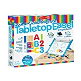 Melissa & Doug Double-Sided Magnetic Tabletop Art Easel-Dry-Erase Board and Chalkboard
