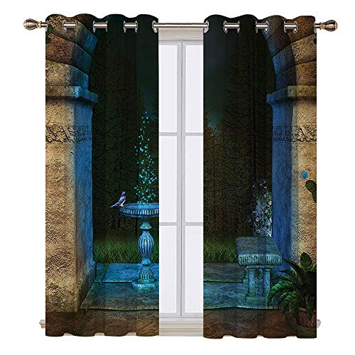 Thermal insulating blackout curtain - 55W x 63L Inch-Patterned drape for glass door.Gothic House For t Landscape from Ancient Archway Birds on Fountain Fairytale Illustration Blue Grey -