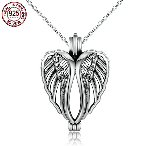 Asaa 925 Sterling Silver Memory Locket for Pearl Cage Heart Pendant Angel Wing Necklace, 18