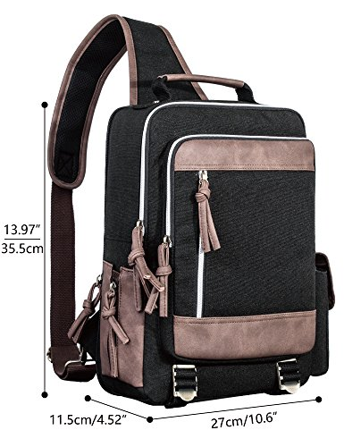 Leaper Retro Messenger Bag Outdoor Cross Body Sling Bag Travel Bag Shoulder Backpack (Black3103) by Leaper (Image #2)